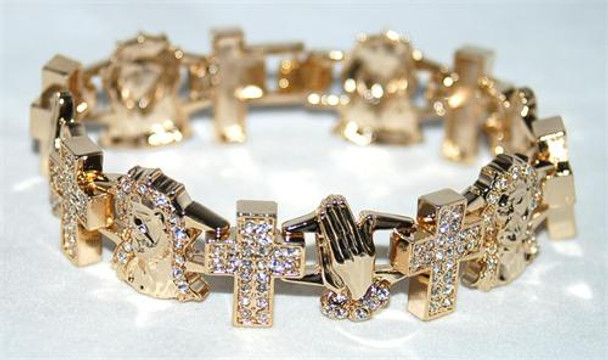 Cross Prayer Hands and Jesus Gold Bracelet