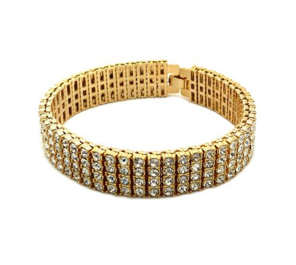 Four Strand Gold All Ice Bracelet