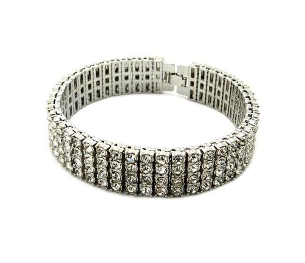 Four Strand Silver All Ice Bracelet