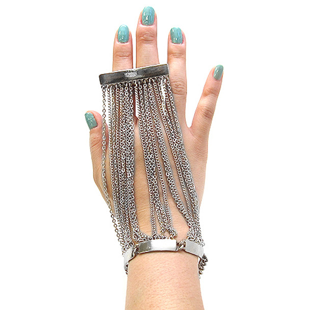 Chains and 2 Finger Silver Ring Hand Jewelry