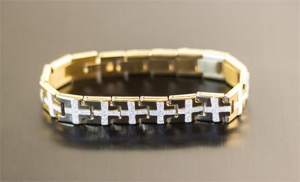 Gold Cross Stainless Steel Bracelet