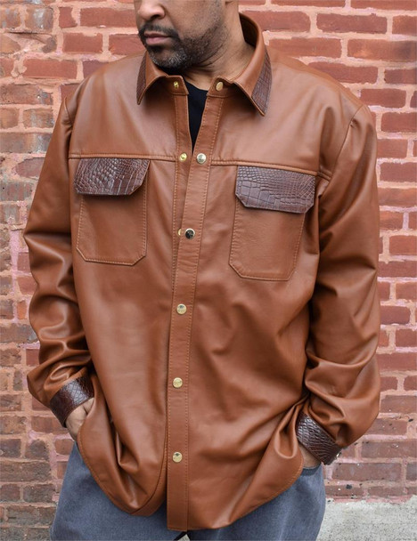Tan Leather Shirt with Alligator Trim