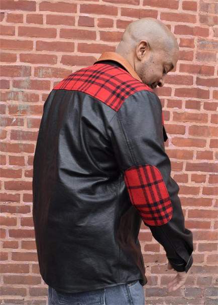 Black Leather Shirt with Plaid trim