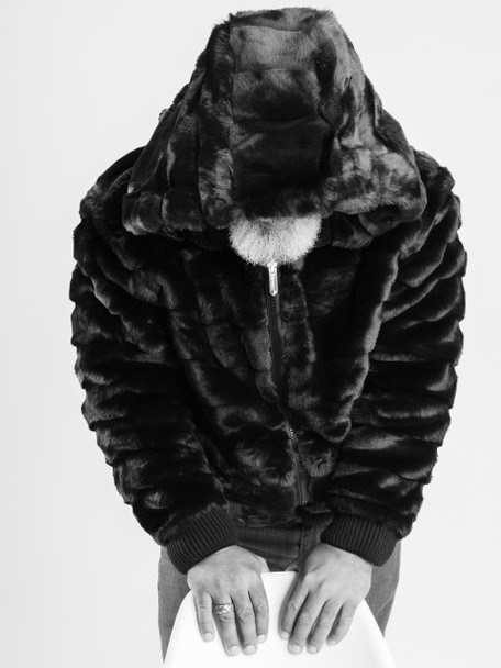 Ablanche Hooded Convex Faux Fur Jacket