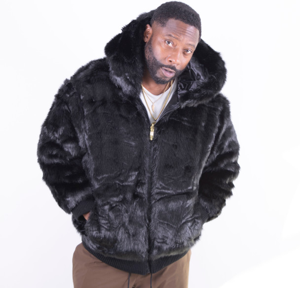 Ablanche Mens Mink Faux Fur Hooded Jacket