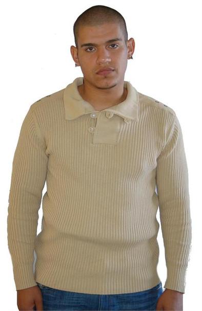 Epic Hero Khaki Ribbed Cotton Sweater
