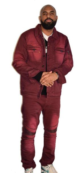 Burgundy Jean Suit
