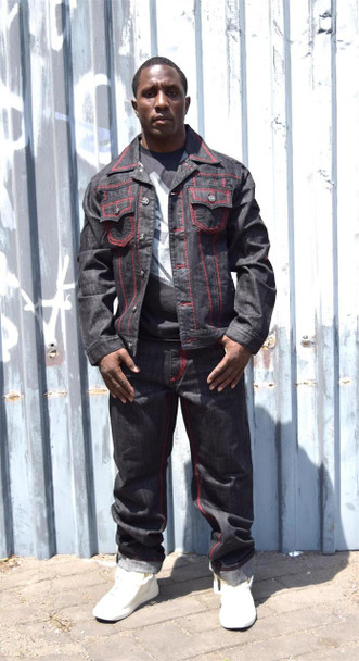 Mens Red and Black Denim Jean Suit