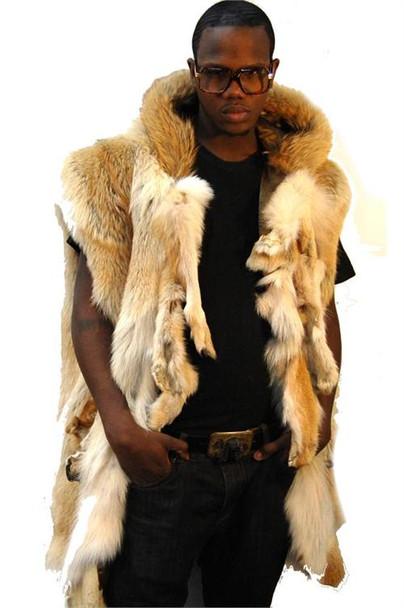Natural Full Skin Coyote Vest