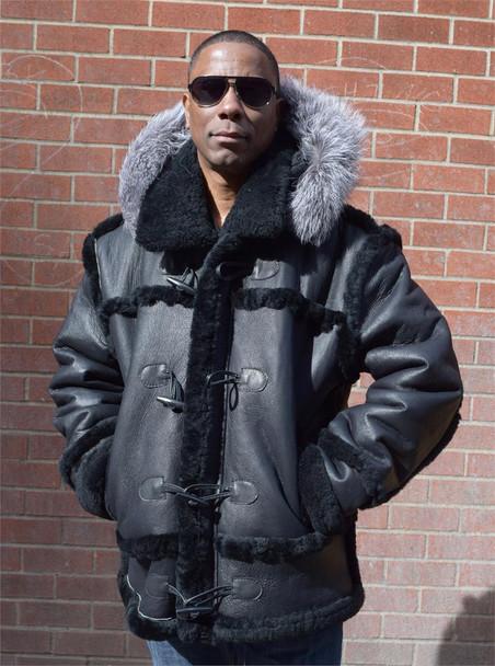Black Leather Finish Sheepskin Fox Trim Hood