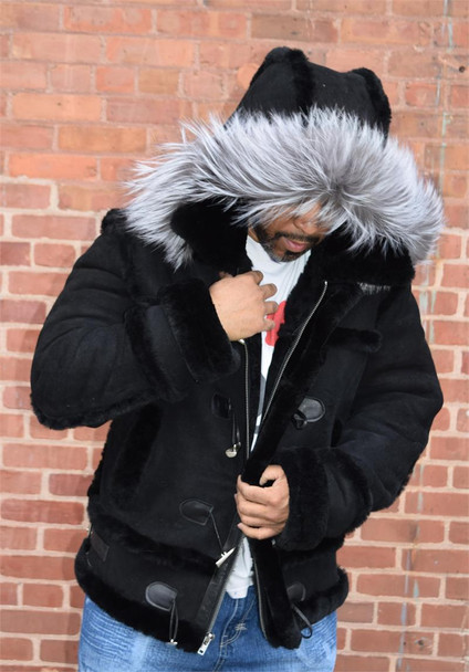 Black Suede Finish Sheepskin Fox Trim Hood