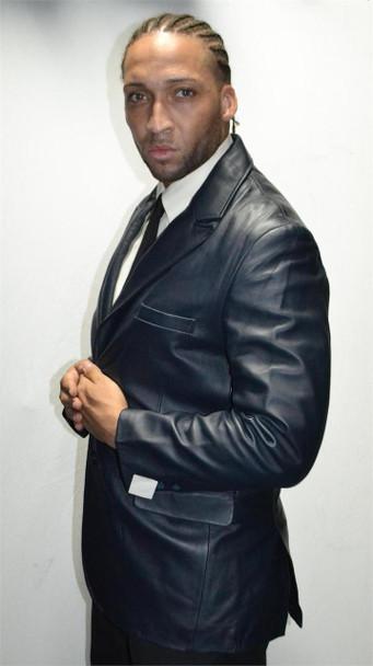 Navy Blue Leather Blazer