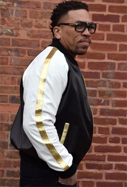 Jakewood Multi Color Baseball Black Gold Leather Jacket