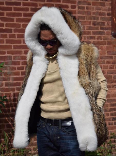 Tan Fox Fur Vest with white Fox trim