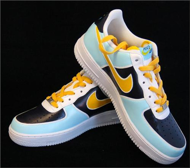REMIXDAKICKZ Light Blue and Yellow Color Block Custom Air Force One Sneakers
