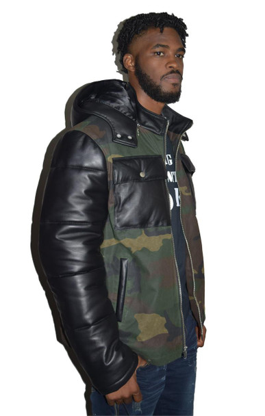 Camoflauge leather sleeves Jacket