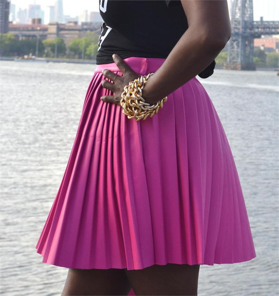 Pink Sheep Pink Leather Pleated Skirt