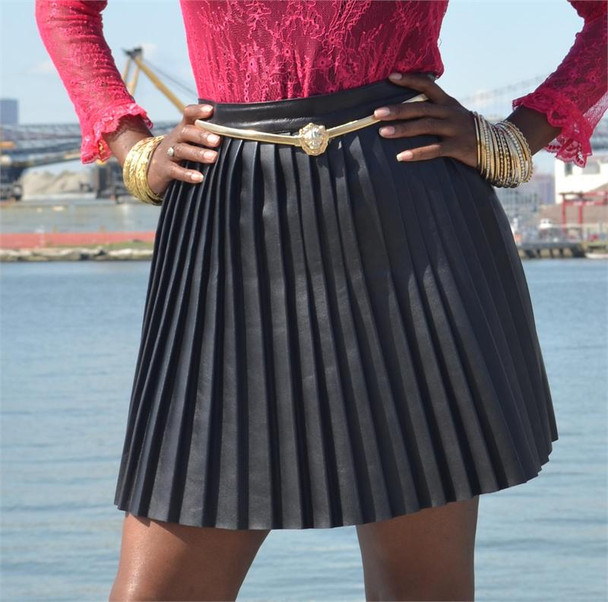Pink Sheep Black Leather Pleated Skirt