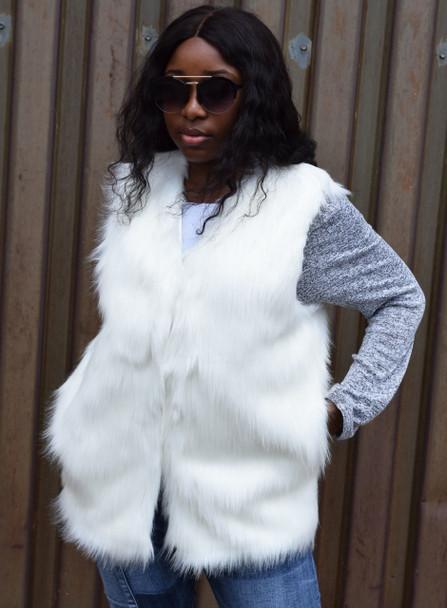 Faux Fur Winter White Ladies Vest