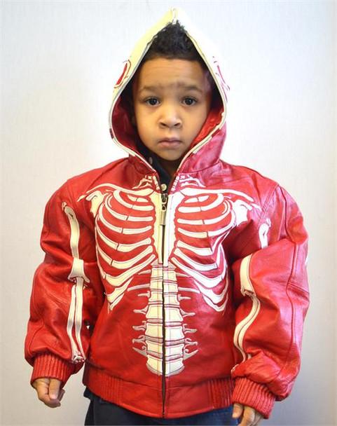 Red White Skeleton Kids Leather Coat