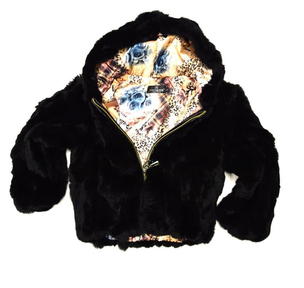 Black Rabbit Fur Kids Jacket