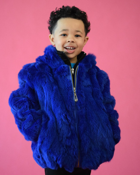 Royal Blue Childrens Rabbit Fur Jacket