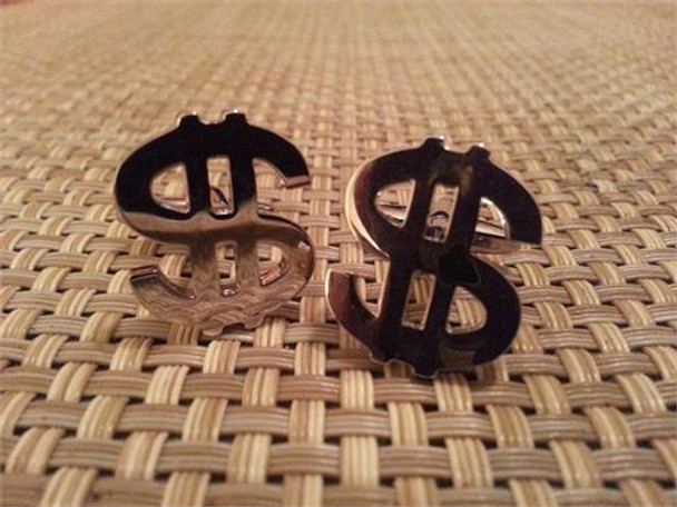 Money Sign Silver Cufflinks
