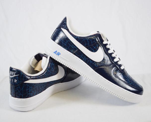 REMIXDAKICKZ Blue Croc Custom Painted AF1 Sneakers