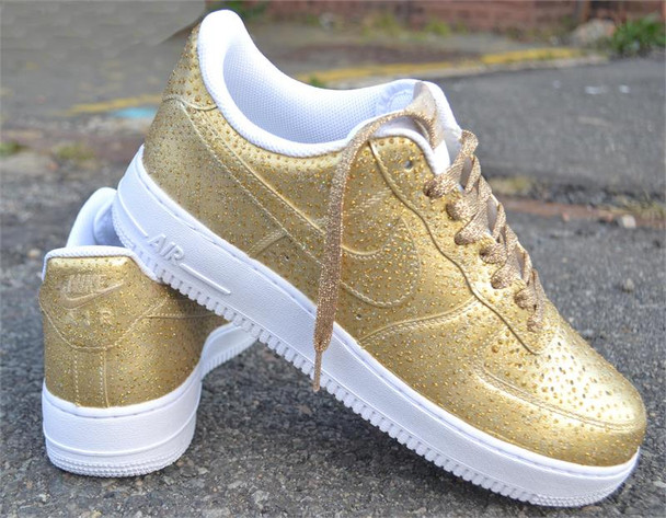 Gold Air Force One Custom Painted Sneakers