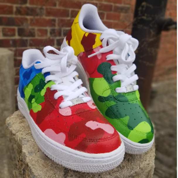 Rainbow Camo Air Force One Sneakers