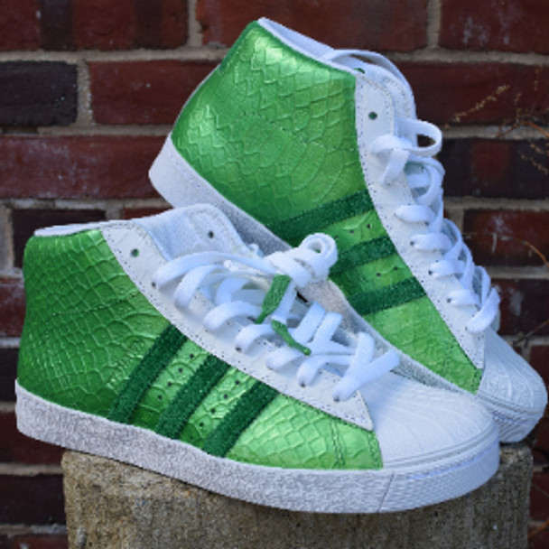 Green Lantern Custom Metallic Hi Top Adidas
