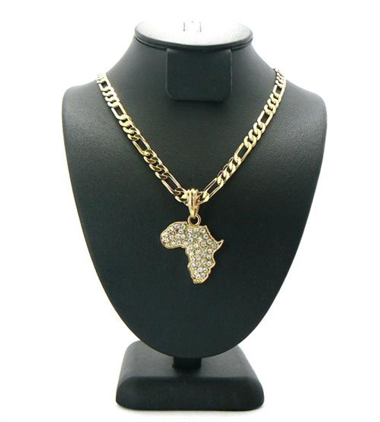 Gold Iced Out Africa Pendant Figaro Chain