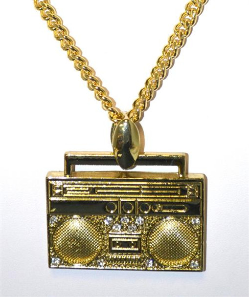 Gold Boom Box Pendant and Chain Jewelry