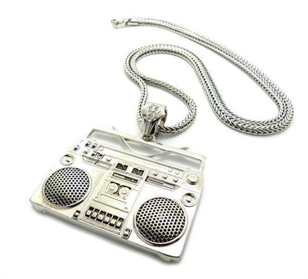 Silver Boom Box Pendant and Chain Jewelry