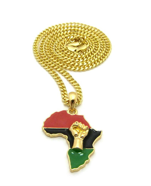 Gold Africa Flag and Fist Chain