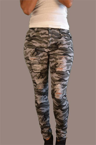Camo Ripped Ladies Jeans (Plus Size)