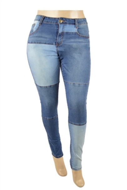Color Block Womens Denim Jeans (Plus Size)