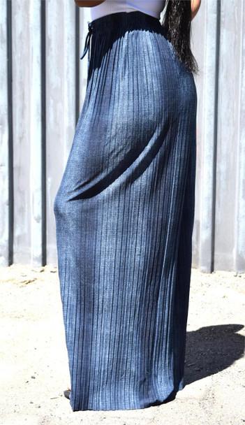 Blue Denim Wide Leg Pants