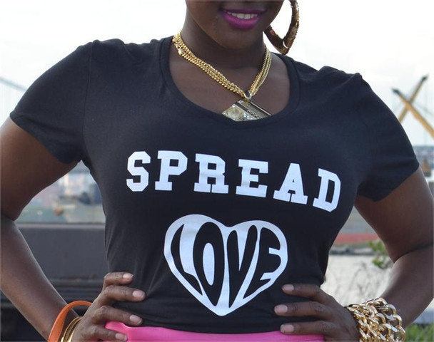 Spread Love Ladies Black Tee