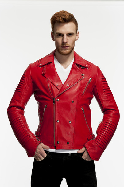 Red Ribbed Arm Motorcycle Jacket