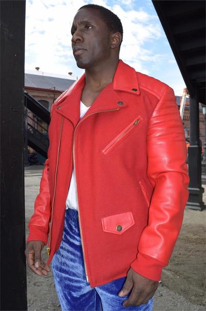 Jakewood Ribbed Arm Leather Biker Jacket