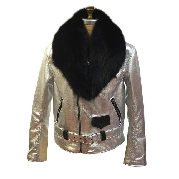 Jakewood G gator Silver Black Motorcycle Jacket With Fur collar