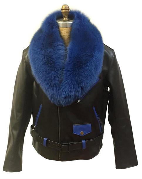 Jakewood G gator Blue Black Motorcycle Jacket With Fur collar