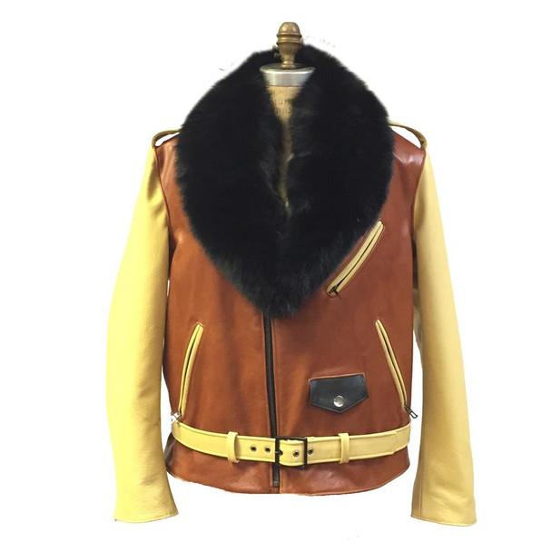 Jakewood G gator Yellow sleeve Motorcycle Jacket With Fur collar