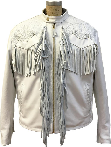 G Gator White FRINGE & ALLIGATOR trimmed Leather Jacket