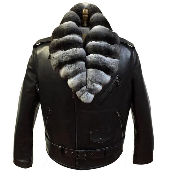 Jakewood G Gator Motorcycle jacket with chinchilla collar