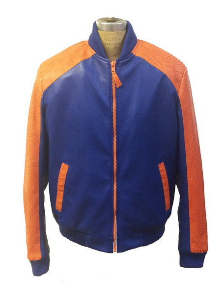G Gator Jakewood Blue Orange Leather Baseball Jacket with python trimming