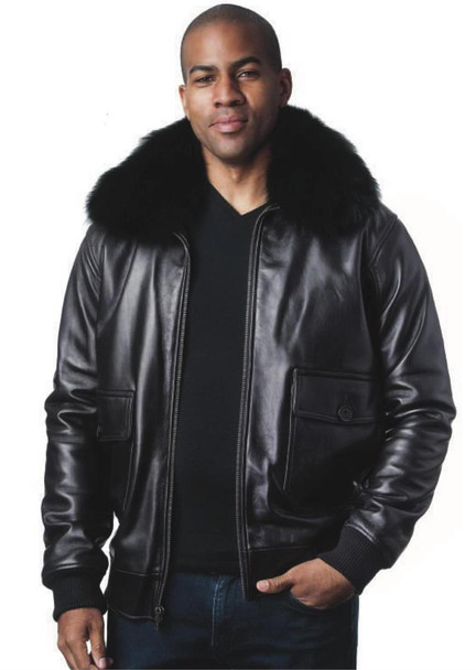 Black Leather Aviator Jacket with Fox Fur Collar