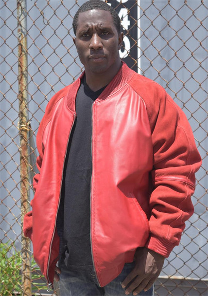 Red Leather and Suede Jacket