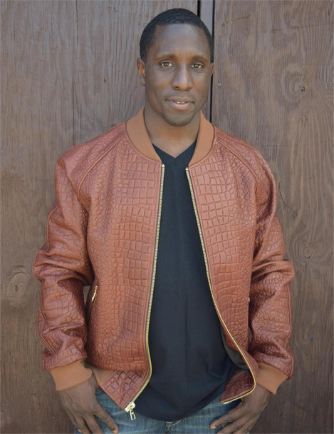 Brown Alligator Embossed Leather Baseball Jacket